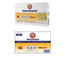 Pic Siringa Insulina 0,5mL G30 8mm 30 Pezzi Siringhe per insulina