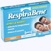 RESPIRABENE CEROTTINI NASALI TRASPIRANTI ADULTI 10PEZZI Cerotti nasali