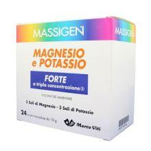 Massigen Magnesio e Potassio Forte 24 Bustine da 10g Integratori Sali Minerali