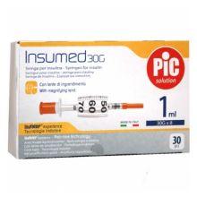Pic Siringa Insulina 1mL G30 8mm 30 Pezzi Siringhe per insulina