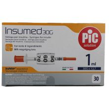 Pic Siringa Insulina 1mL G30 12,7mm 30 Pezzi Siringhe per insulina