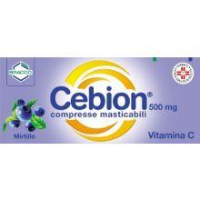 CEBION 500* 20 COMPRESSE MASTICABILI GUSTO MIRTILLO Tonici, vitaminici e sali minerali