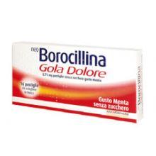 Neoborocillina Gola Dolore 16 Pastiglie Menta senza Zucchero 035760040 Farmaci per mal di gola
