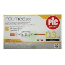 Pic Siringa Insulina 0,3mL G30 8mm 30 Pezzi Siringhe per insulina